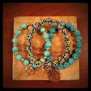 Rustic Cuff - Set of 3 Turquoise Bracelets
